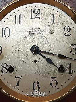 Antique Seth Thomas Sonora 5 Bell Clock Quarter Hour Chime 8 Day Excellent