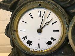 Antique Seth Thomas & Sons New York Figural Woman Mantel Clock on Slate Base