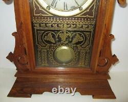 Antique Seth Thomas Walnut Kitchen Mantel Clock 8-Day, Time/Strike, Key-wind