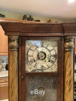 Antique SethThomas Weight Driven Plymouth HollowTriple Deck Column Shelf Clock