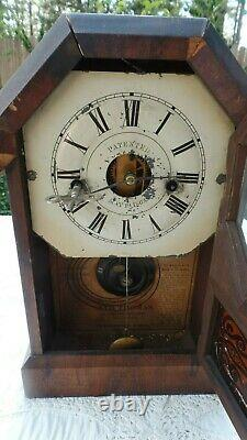 Antique USA Seth Thomas Wall & Mantle Clock With Pendulum Dated 1863