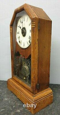 Antique Victorian Architectural Alarm Clock with Hour Strike