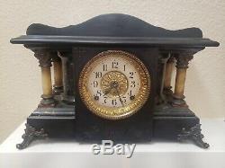 Antique Vintage Black Seth Thomas Open Column Adamantine SUCILE Mantle Clock