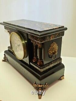 Antique Working 1800's SETH THOMAS Victorian Adamantine Mantel Shelf Clock