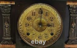 Antique Working 1880 SETH THOMAS Fancy Victorian Adamantine Mantel Shelf Clock
