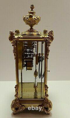 Antique Working 1909 SETH THOMAS Victorian Brass & Glass Crystal Regulator Clock