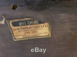 Antique Working 1920s SETH THOMAS No 91 Westminster Chime Mantel Shelf Clock 124