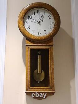 Antique Working 1925 SETH THOMAS Regulator No. 2 Weight Driven Oak Wall Clock