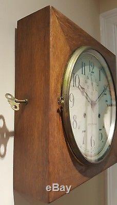 Antique Working SETH THOMAS 30 Day Oak Gallery Lobby Regulator Wall Clock 86AK