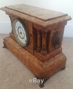 Antique Working SETH THOMAS Fancy Victorian Adamantine Mantel Shelf Clock c. 1880