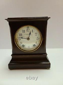 Antique Working SETH THOMAS'Hennigan Bates Co.' Mahogany Mantel Shelf Clock