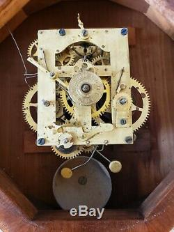 Antique Working SETH THOMAS Marine Lever Gallery Ships Wall Clock with Alarm