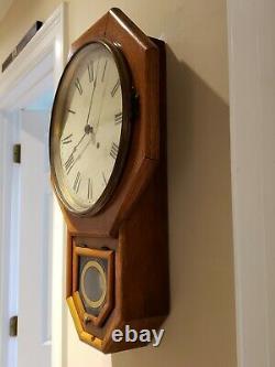 Antique Working SETH THOMAS Oak Octagon Drop School House Regulator Wall Clock