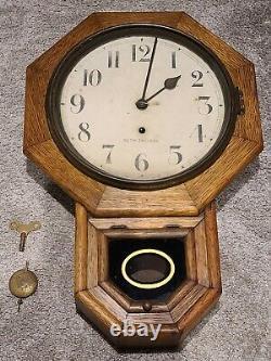 Antique Working SETH THOMAS Octagon Drop School House Regulator Oak Wall Clock