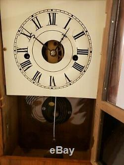 Antique Working SETH THOMAS Plymouth Conn Lyre Movement Rosewood Cottage Clock