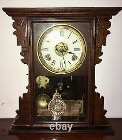 Antique circ 1900 Seth Thomas Eclipse Walnut 8 Day Mantle Parlor Ball Top Clock