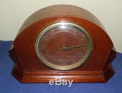 Art Deco 1947 Electric Seth Thomas Console 7E Mahogany Mantel Clock Chimes