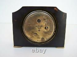 Art Deco Marbled Black/Orange Swirled Catalin 1931 Seth Thomas Clock For Repair