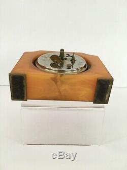 Art Deco Seth Thomas Catalin Bakelite Wind Up Working Desk Alarm Clock
