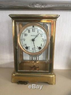 Art-deco Seth Thomas Classic Corniche Four Glass Mantle Clock