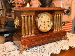 Atq Seth Thomas Adamantine 8 Day Mantel Clock withChime Pat 1880 Rare 8 Columns