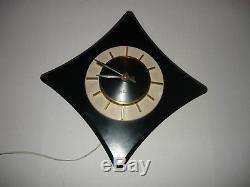 Black & White, Vintage Art Deco, Seth Thomas, Electric 21 Wall Clock, Gold