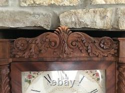 C. 1820 Seth Thomas Carved Pillar And Splat Wooden Works Shelf Clock For Repair
