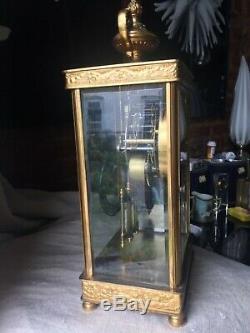 Crystal Gilt Brass Regulator Seth Thomas Shelf Clock French Empire Beveled Glass