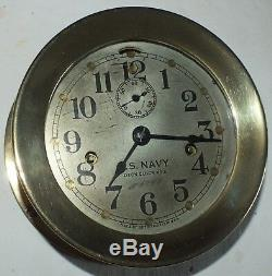 Double Spring U S Navy N0. 3 Deck Clock, Rare
