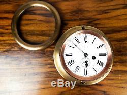 Early Antique WW1 Era Seth Thomas Deck Clock Brass US Navy WWII USN Ceramic Face