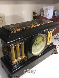 Elegant Seth Thomas Adamantine Mantle Clock Circa 1900's Works Well