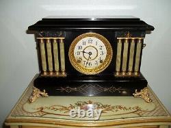 Fully And Properly Restored Rare Seth Thomas Black Adamantine Mantel Clock