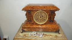 Fully Restored Seth Thomas Adamantine Finish Mantel Clock