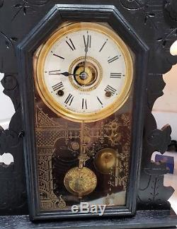GIANT Antique Seth Thomas Gingerbread Kitchen 8 Day Shelf Clock for Parts