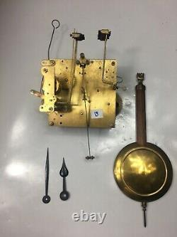 German Westminster Chime Clock Movement With Hands, Pendulum, And Leader