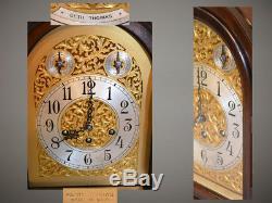 Grand Seth Thomas Restored Antique Chime Clock No 73 1921 In Ribbon Mahogany