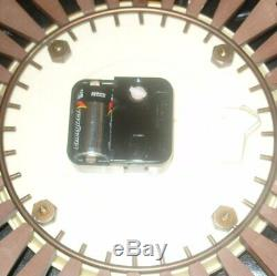 HUGE 70s VINTAGE RETRO SETH THOMAS TEAK EFFECT SUNBURST / STARBURST WALL CLOCK