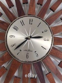 HUGE VINTAGE SETH THOMAS TEAK SUNBURST / STARBURST WALL CLOCK RETRO 1960s/1970s