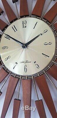 HUGE VINTAGE SETH THOMAS TEAK SUNBURST / STARBURST WALL CLOCK RETRO 1960s /70s