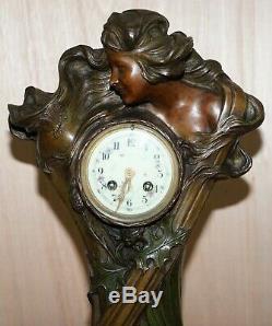 Huge Original Art Nouveau Circa 1889 Cold Painted Bronzed Clock By Seth Thomas