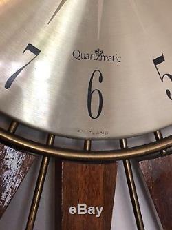 Huge Stunning Vintage Retro Seth Thomas Teak Sunburst / Starburst Wall Clock