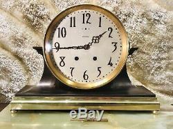 Large Antique USA Seth Thomas Ships Brass Strikes Clock W Brass Base
