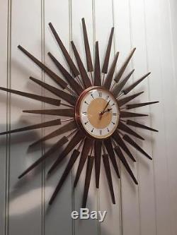Large Mid Century Seth Thomas Style Starburst Clock Hand Made in the UK Yellow