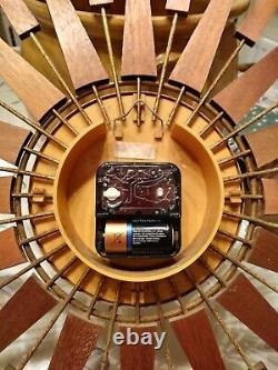 Large Vintage Seth Thomas Scotland Sunburst Starburst Teak Spine Wall Clock