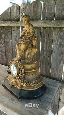 Large seth thomas & sons beautiful flower girl statue clock
