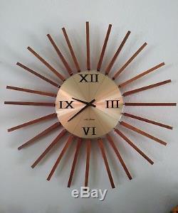 Mid Century Modern Art Clock Seth Thomas Stylecraft Vintage Sunburst