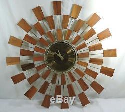 Mid Century Modern Seth Thomas Danish Sunburst Atomic-Style Wall Clock Grandeur
