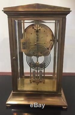 Nice Early 20th Century Original Seth Thomas Brass Crystal Regulator Clock