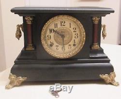 Old Antique E. Ingraham & Co Seth Thomas Adamantine Mantle Clock Nice Chimes