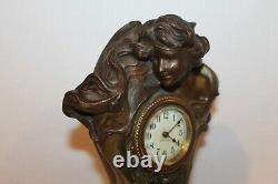 Original Art Nouveau Circa Bronzed Clock By Seth Thomas